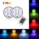 Noza Tec 10 LEDs RGB Submersible LED Light,Multi-Color Waterproof Vase Base Floral Light with 24 Keys Remote Controller Ideal For Wedding Christmas Decor, Home Party