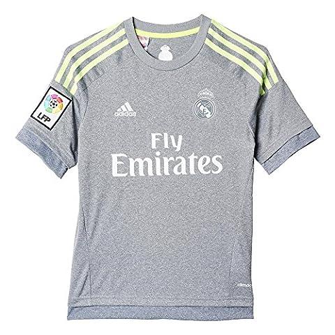 adidas - S12630 Maillot Football Real Madrid Extérieur - Garçon - Gris/Lime - FR : 6-8 ans (Taille Fabricant : 128)
