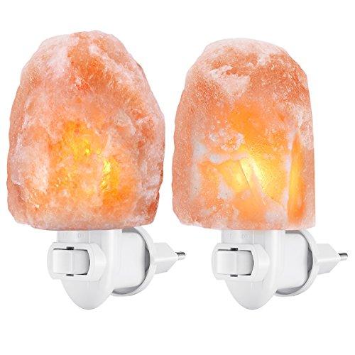 [2 pezzi] AMIR Lampada di Sale, Lampada di Cristallo di Sale Dell'Himalaya, Mini luce Notturna, Luce Dell'umore per la Camera da Letto