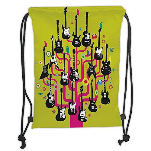 (OQUYCZ Drawstring Sack Backpacks Bags,Music,Guitars for Rock Stars Above a Tree Plant Modern Geometric Design Print,Hot Pink Apple Green Soft Satin,5 Liter Capacity,Adjustable String Closure,T)