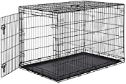 AmazonBasics Single-Door Folding Metal Dog Cage with Paw Protector (48 inches)