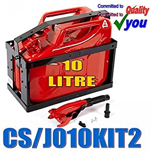 """Jerrican de 10 litres de carburant Diesel """"pour station essence huile Support & de conservation et bec 10 L Rouge"""