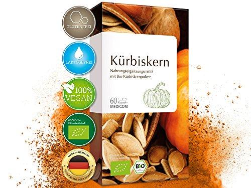 Bio Kürbiskern Kapseln hochdosiert - biozertifiziert - 500 mg Kürbiskernpulver des steirischen Ölkürbis pro Tagesdosis, 60 Stk.