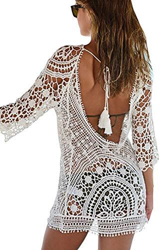 Bikini-cover Up (Goldwid Damen Sexy Boho Rückenfrei Spitze Bikini Cover Up Strandkleid Strandurlaub Bademode Strandponcho Sommerkleid)