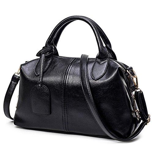 Frauen-Schulter-Beutel-Frauen-Blumen-Drucken-Handtaschen-Schulter-Beutel-Tote-Kurier-Beutel Black