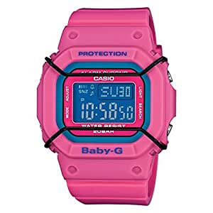BABY-G Women's Quartz Watch with Blue Dial Digital Display and Fushia Resin Strap BGD-501-4ER