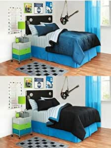 Full 8-pieces Your Zone Black and Blue Reversible Bedding Set