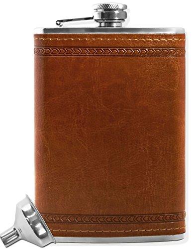 Outdoor Saxx® - Edelstahl Flachmann, edles Leder Design, hochwertige Taschen-Flasche, 260ml Schraub-Verschluss, mit Einfüll-Trichter, in Geschenk-Box
