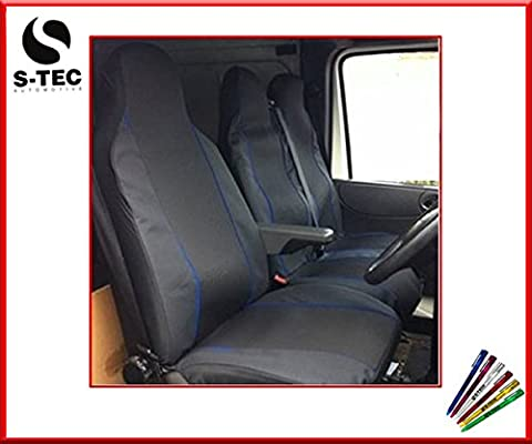 LDV CONVOY 96-05 REAR WHEEL DRIVE - S-tech Comfortable Premium Deluxe Black With Blue Piping Van Seat Covers 2+1 | FREE S-TECH PEN