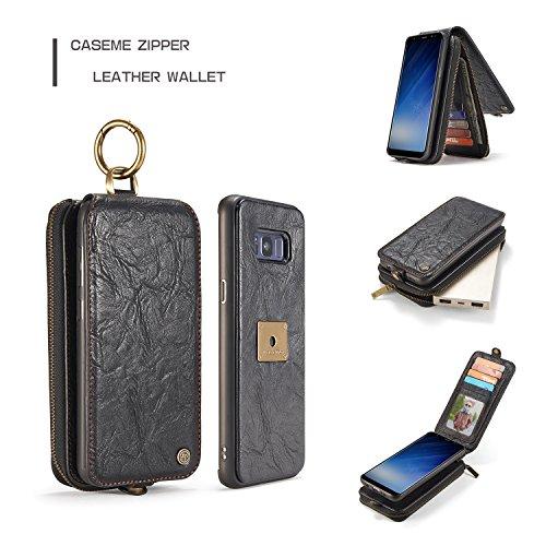 Wkae CaseMe Leder Wallet Case mit Magnetic PC + TPU Rückseitige Abdeckung, abnehmbare Folio, Bargeldhalter Zipper Design für Samsung Galaxy S8 Plus ( Color : Red ) Black