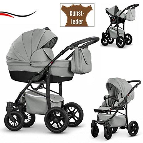 """16 teiliges Qualitäts-Reisesystem 3 in 1""""COSMO-ECO"""" - KUNSTLEDER: Kinderwagen + Buggy + Autokindersitz + Schwenkräder - Mega-Ausstattung - in Farbe (CE-22) GRAU KUNSTLEDER-SCHWARZ"""