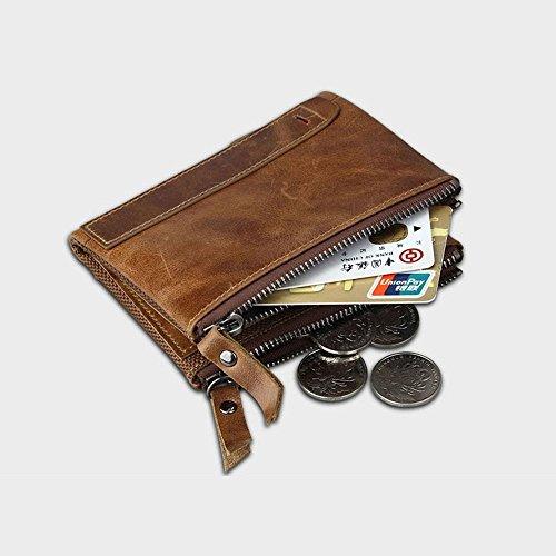 Pawaca Männer RFID Blocking Wallet Echtes Leder Doppel Reißverschluss Bifold Brieftasche mit Münze Kartenhalter Braun