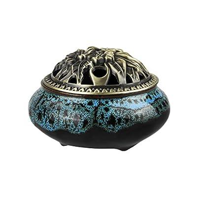 Incense Burner Ornate Incense Cone Holder Celadon Stove Kiln Ceramic Vintage Censer Incense Stick Holder Xmas Birthday Gifts Home Decor
