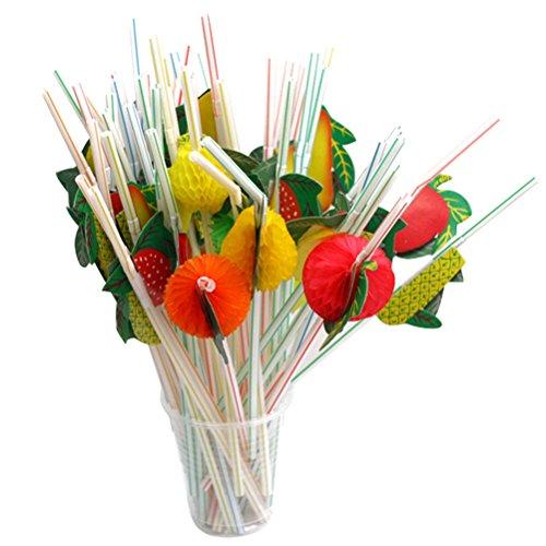 OUNONA-Pajas-de-Beber-Decoracin-de-Cctel-Hawaiana-Fiesta-Frutas-3D-Colores-Surtidos-50-Unidades