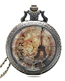 #7: Young & Forever On Time Retro Antique Bronze Designer Premium Vintage Eiffel Tower Pocket Watch Necklace diwali gifts items for women / men / girls / boys - N475 diwali Gift special