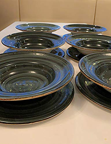 Teller set, 12-Teilig für 6 personen, Tafelservice Vintage,handbemalt, Suppen teller, Salat teller, Spaghetti teller, 12 Salat