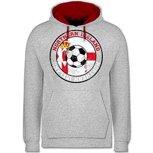 Fußball - Northern Ireland Kreis & Fußball Vintage - Kontrast Hoodie Grau Meliert/Rot