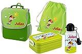 Mein Zwergenland Set 5 Kindergartenrucksack mit Brotdose, Turnbeutel aus Baumwolle und Trinkflasche Happy Knirps Next mit Name Junge, 4-teilig, Grün
