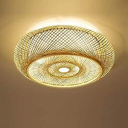 Shfmx Luminaria nórdica Minimalista del Techo del Dormitorio, lámpara de ratán Hecha a Mano de Estilo Vintage, Sala de Estar, Oficina, lámpara de Techo, Linterna, lámpara de bambú Redonda