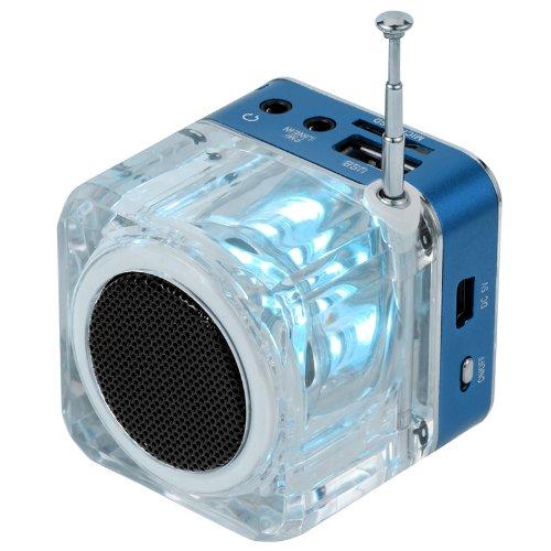 Andoer Mini Digital Altoparlante Portatile di Musica MP3/4 Player TF USB Disk FM Radio con Antenna Telescopica e Uscita Cuffie Funzioni blu