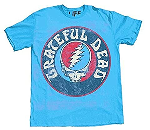 Grateful Dead Steal Your Face Skull Logo Erwachsene T-Shirt (X-Large, blau)