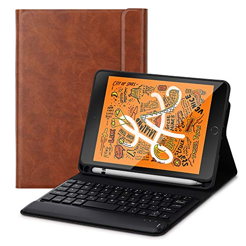 Foluu Schutzhülle für iPad Mini 5 2019 Tastatur, kabellose iPad Tastatur Folio Smart Case mit Stifthalter Smart PU Cover Auto Sleep Wake Magnetic für Apple New iPad Mini 5. Generation