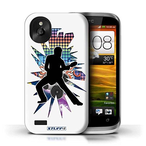 Kobalt® Imprimé Etui / Coque pour HTC Desire X / Chanteur Blanc conception / Série Rock Star Pose étendre Blanc