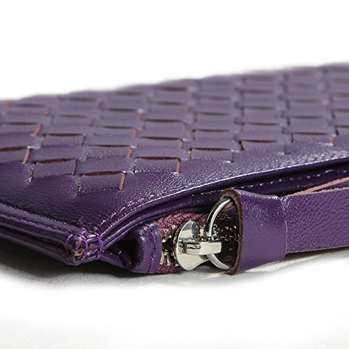 Pecora in vera pelle a portafoglio con cerniera in tessuto Borsa Porta carte per donna ragazza Black Purple