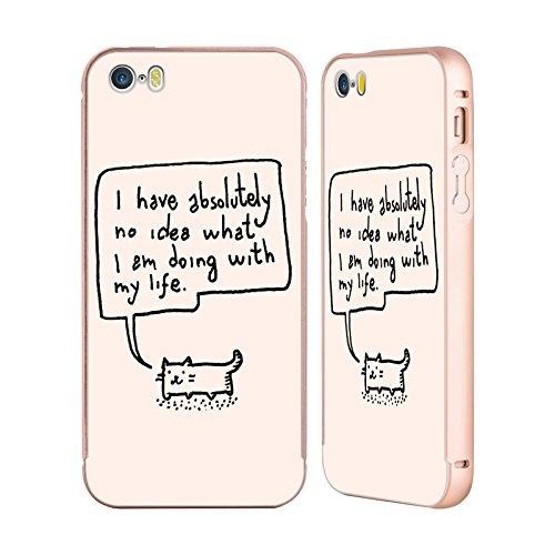 Ufficiale Kitten Rain Pattern Nastro Gatti Oro Cover Contorno con Bumper in Alluminio per Apple iPhone 5 / 5s / SE Piccolo
