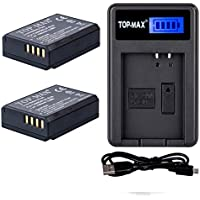 TOP-MAX® (2-Pack) High Power LP-E10 Battery + Rapid USB Charger for Canon EOS 1100D, 1200D, 1300D, Rebel T3, Rebel T5, Kiss X50 Digital SLR Camera