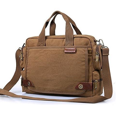Hombres hombro cruzado bolsas lienzo bolso Messenger Bag bolsas de viaje para hombre de Wishtime (Café)