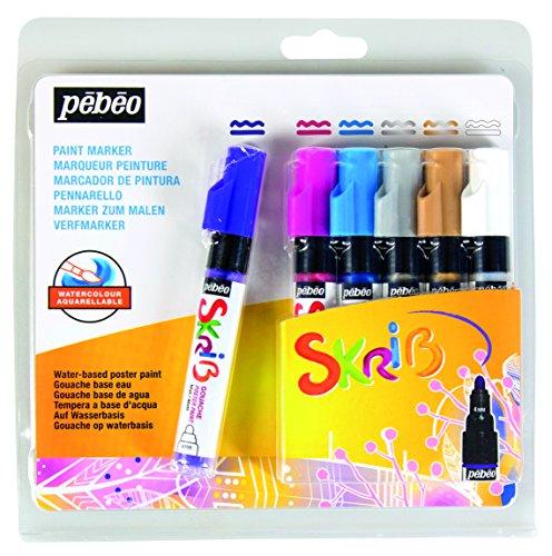 pebeo-604104-set-skrib-paint-6-pennarelli-guazzo-pittura-multicolore-183-x-21-x-181-cm