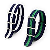2PC 22mm Fanmis Nylon Striped Navy Blue/WhiteBlue/Green Interchangeable Replacement Watch Strap Band