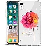 Girlscases® | iPhone XR Hülle Blumen/Flowers Schutzhülle aus Silikon mit Blumen/Flowers Aufdruck/Motiv Glänzend | Farbe: Pink/Rosa / Orange