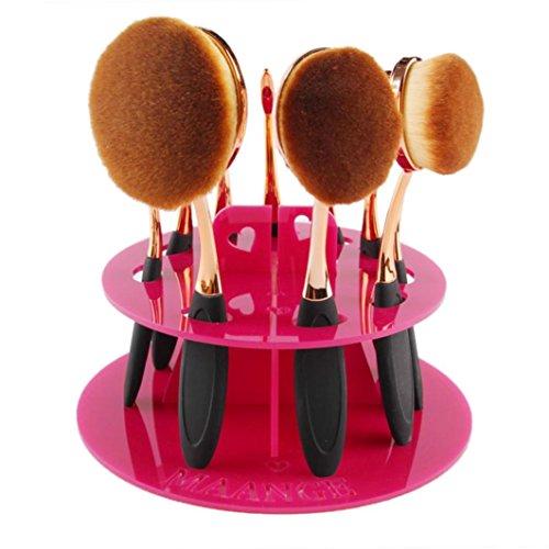 LONUPAZZ 10 trou ovale pinceaux maquillage shelf holder étagère cosmétiques shelf organizer Rose vif