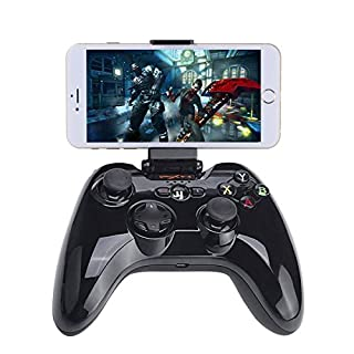 Bluetooth Gamepad Controller, iOS MFi Wireless Gaming Joystick with Clamp Holder Compatible with Apple iPhone Xs, XR X, 8 Plus, 8, 7 Plus, 7 6S 6 5S 5, iPad, iPad Pro Air Mini, Apple TV