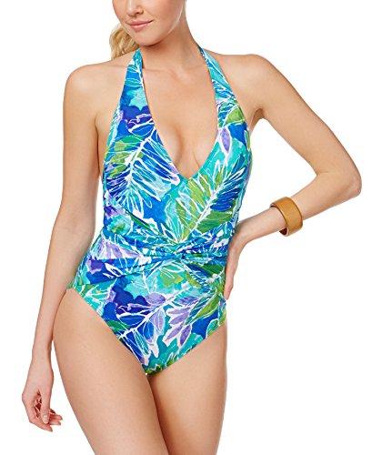 Lauren Ralph Lauren Damen-Badeanzug, Tropenmuster, einteilig - Blau - 40