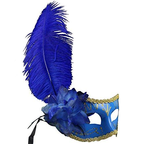 netianische Maskerade Feder Partei Karneval Maske mit Hand-Stick MJ024 Blau (Hand-held-maskerade-masken)