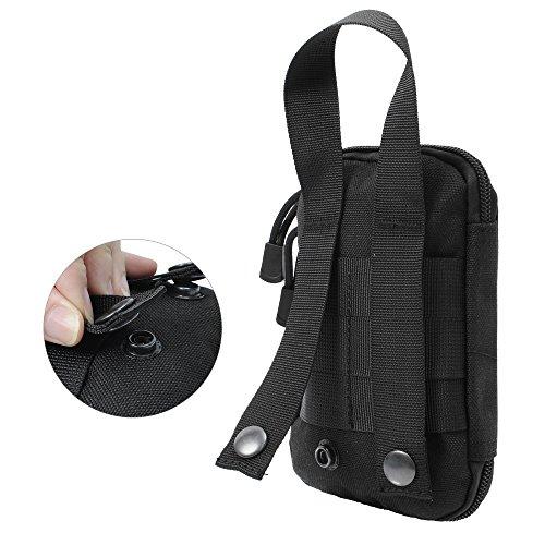 Militare EDC Strumenti Accessori Pouch cintura tattica borsa 1000d Nylon con manico, Uomo, Black Black