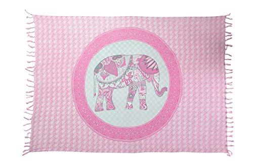 Ciffre Sarong Pareo Wickelrock Strandtuch Tuch Schal Wickelkleid Strandkleid Blickdicht Sri Lanka - Elefant Paisley Rosa Mandala