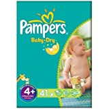 Pampers Baby Dry taille 4 + (9-20kg) Essential Pack 2x41 Maxi Plus par paquet