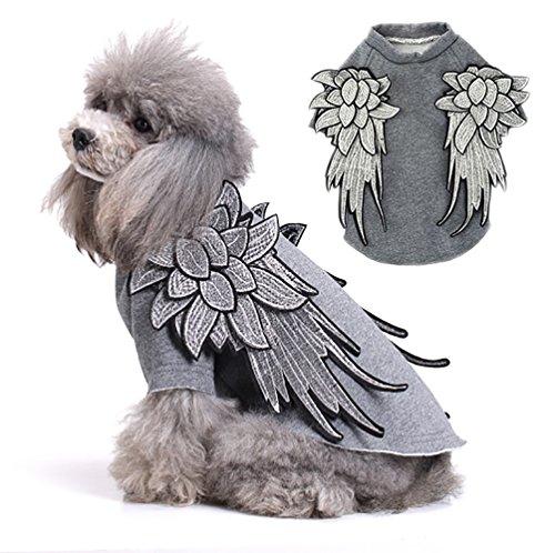 Kostüm Ideen Verlassenen (Luxuriöse Hunde Katzen Kostüme aus Fleece Hoody Kleidung weihi Pullover Apparel Kleidung mit Hand Stickerei Flügel Muster für kleine medium Große)