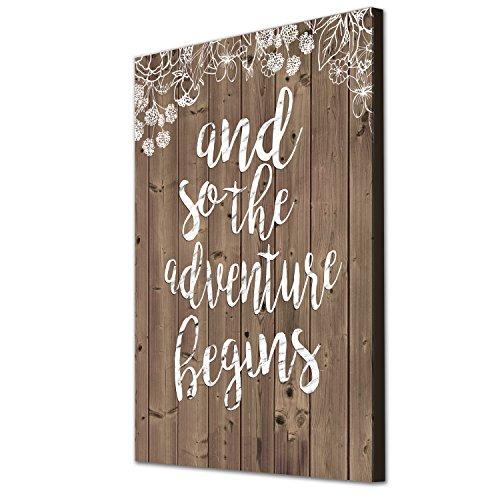 Wunderschöne und einzigartige 16x 12Zoll Leinwand Art Arbeit mit Cute Love Zitat 'und so die Abenteuer beginnt' auf einem schönen Vintage Style Holz Hintergrund, Kunstdruck auf einem Aluminium-Probar Rahmen
