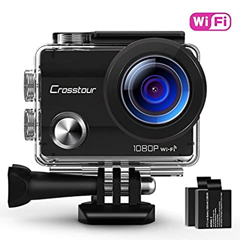 "Crosstour Action Camera Waterproof Wi-Fi Full HD 1080P 12MP 2"" LCD 98ft Underwater 170° Wide-angle Sports Camera with 2 Rechargeable 1050mAh Batteries and Mounting Accessory"