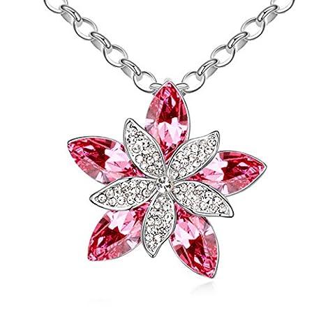 LYJBIK Frauen-Qualitäts-Dry-Blumen-Kristall Hängende Legierungs-Halskette Justierbare Ketten Gold