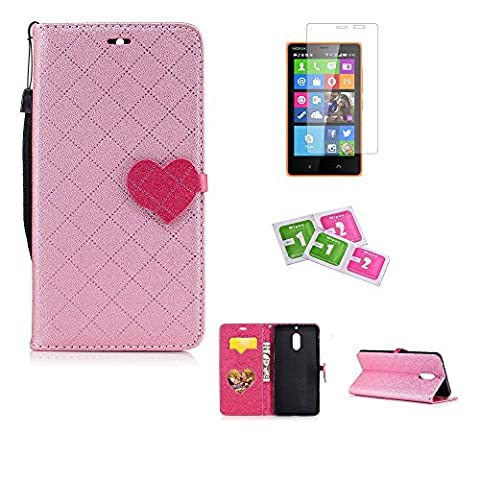 JGNTJLS Case For Nokia6, [New Original Style] [with Free Tempered Glass Screen Protector] LOVE, Cute, Fashionable, Stylish, Cross-Embossing(Contrast-Colorful, Wrinkle-Design), Fax Leather-Shell(Artificial, Silky Touch Fully), Photos Frame Additional(Heart-Shaped, Transparent HD) [Small Black Lanyard Strap] Flip Wallet Card Slot Smart Stand Cover Ultra Slim Protective Folder Case Perfectly Fit For Nokia6 [5.5