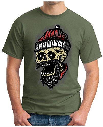 OM3 - SANTA-SKULL - T-Shirt GEEK, S - 5XL Oliv