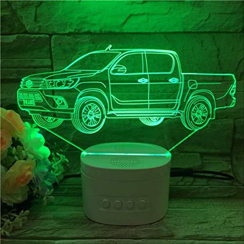 zhkn Kreative Bluetooth Lautsprecher Basis Pickup Trucks Nachtlicht 3D 7 Farbkonvertierung USB Angetrieben Berühren Konsole Lichter Für Wohnkultur Und Kinder GeschenkeA - Pickup-konsole