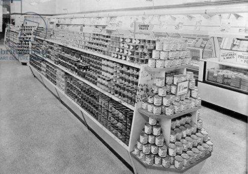 alu-dibond-bild-60-x-40-cm-tinned-foods-aisle-woolworths-store-1956-b-w-photo-bild-auf-alu-dibond