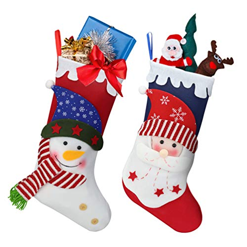 Oladwolf Christmas Stockings 15'' set of 2 Christmas Santa/Snowman Stockings Gift & Candy Pouch Bag for Child and Home Decrations